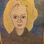 Porträtt Ingeborg Erixson  Provbit inför dekoruppgiften att utsmycka Heliga Korsets kapell på Skogskyrkogården 1938-1940. Mått: 43,5x61,5.